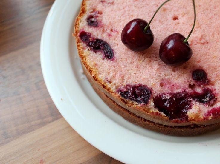 A Beautiful Cherry Sponge Cake