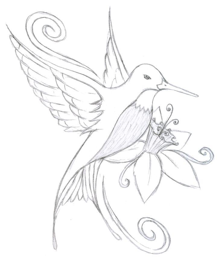 Hummingbird Flower Tattoo Design