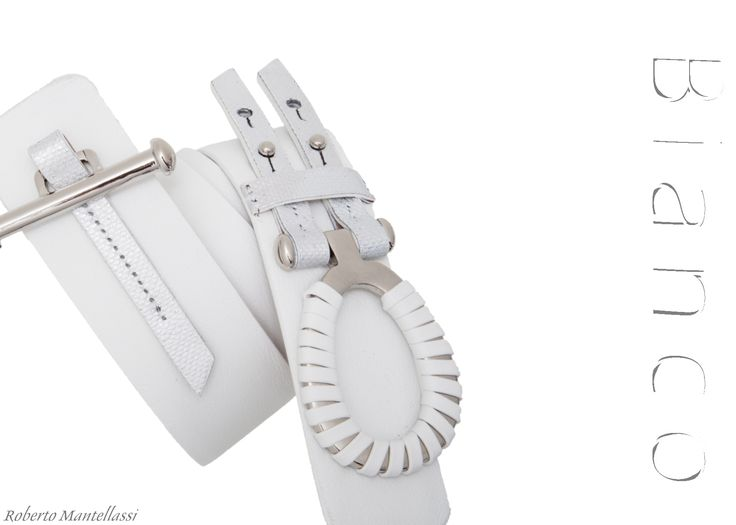 White C28 belt with silver accessory by Roberto Mantellassi