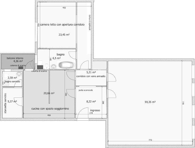 il design di Vincenzo Cacopardo : Ricavare una camera da letto ed un bagno in più