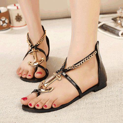 Cute Nautical Anchor Design Black Fashion Sandals