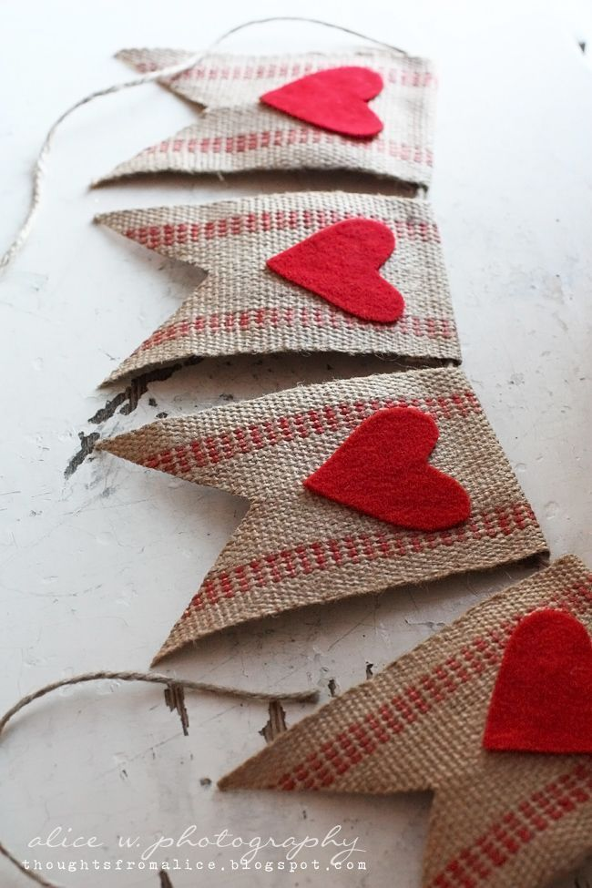 Save these cheap fast DIY Valentine's Day ideas for heart + burlap garlands to decorate your home.