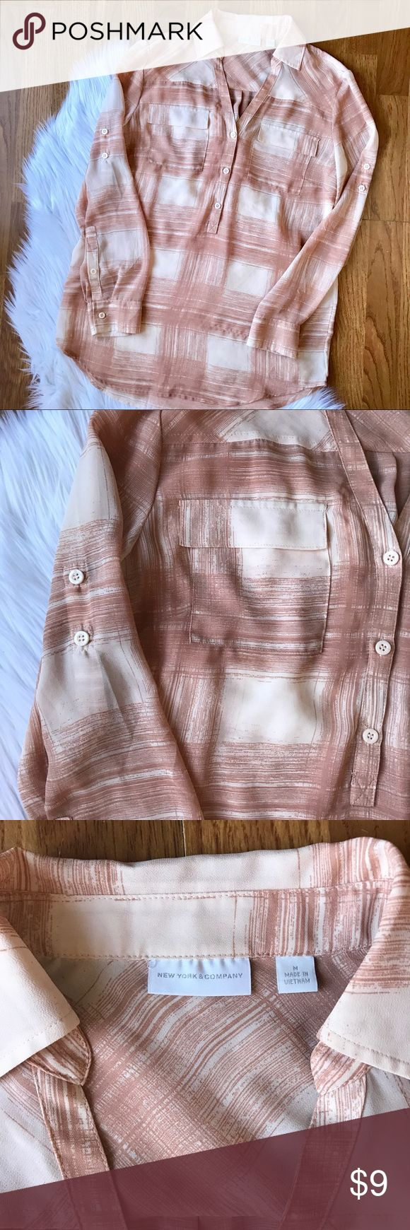 Semi Sheer blush  print blouse. Blush and mauve like colored print. Buttons on arm to fold sleeves. Great condition. Semi Sheer. New York & Company Tops Blouses