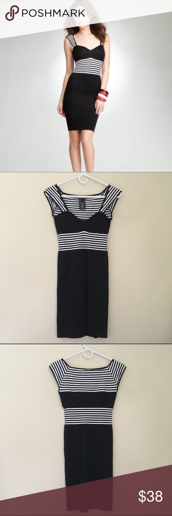 NEW Bebe Stripe Bodycon Dress M/L Brand new! Gorgeous black & white dress with striped design from bebe. The price tag was removed but it doesn't fit me and was never worn. Size M/L. Bodycon style, it is stretchy so it fits a range. It has a sailor nautical vibe to it. So cute and flattering! Original price over $60. If you have any questions let me know :) I don't trade at this time, sorry! I ship out next day ❤️ bebe Dresses Mini