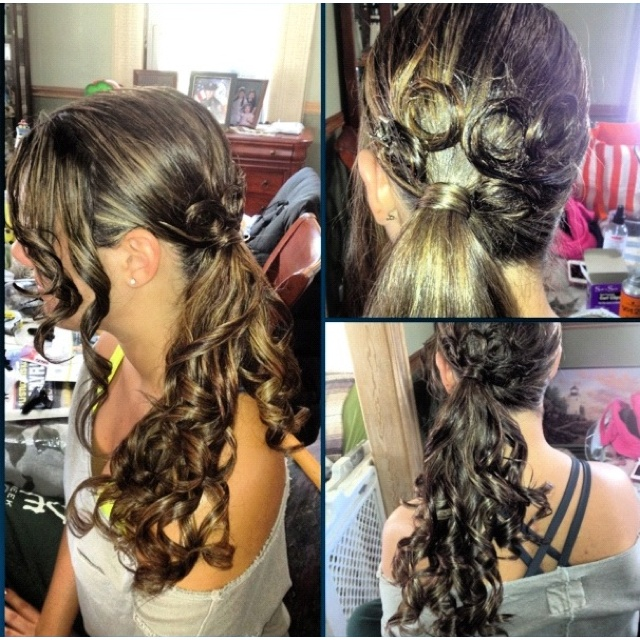 Did Lauren's hair for a fireman's ball. Side ponytail curls with pincurls. Inspired by a picture I repinned on pinterest.