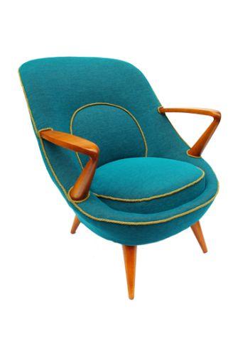 Blue armchair, proj. Jedrachowicz, Racinowski K., Poland, 1955