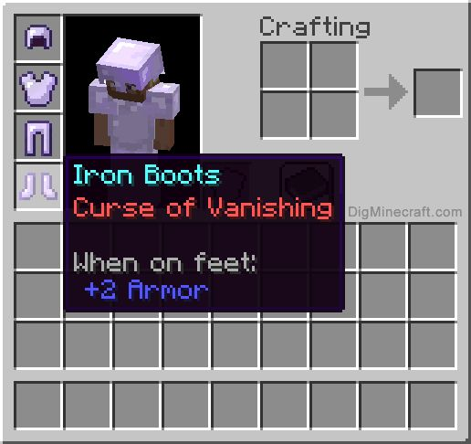 Curse of Vanishing enchantment in Minecraft lets you curse an item so it disappears when a player dies