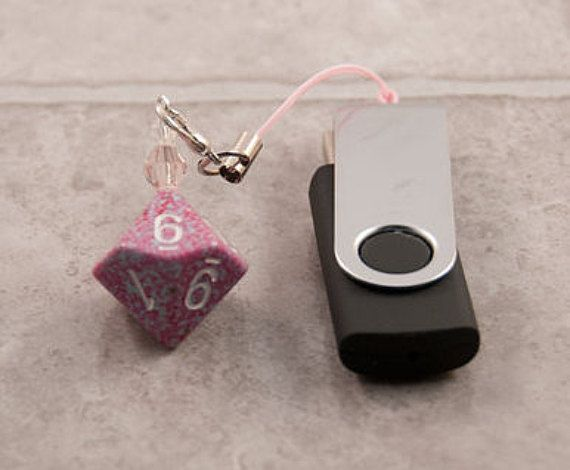 Pink and Blue Speckled D10 Dice Charm with Flash by TheDiceofLife