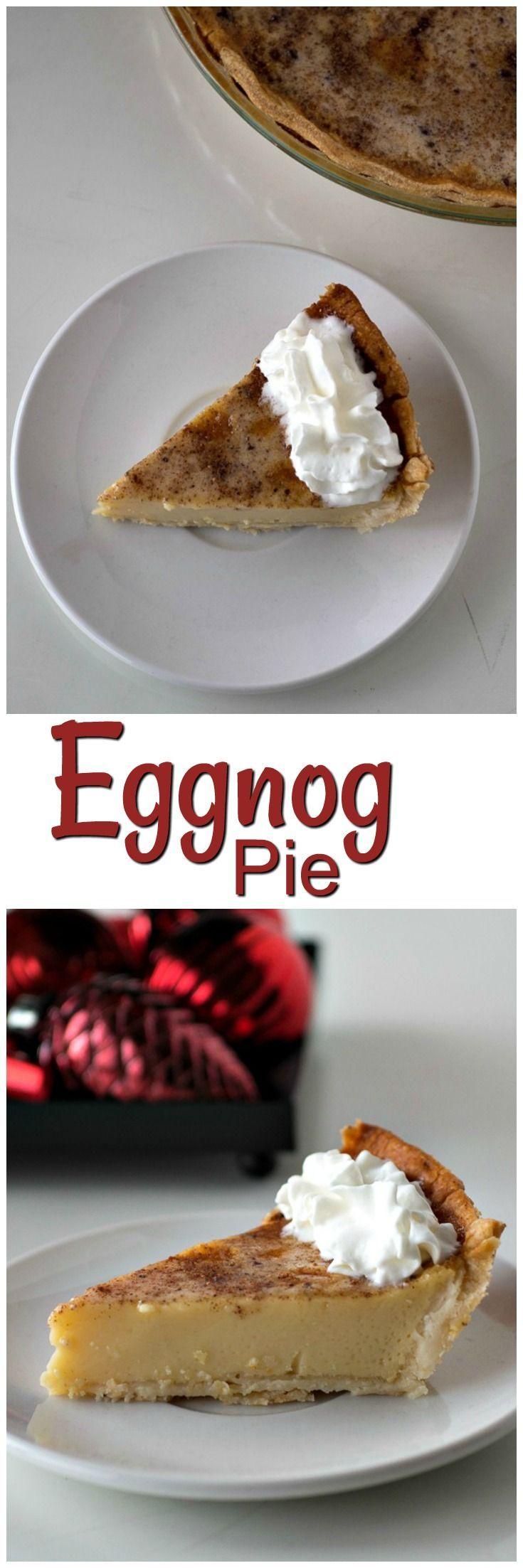 Holiday Eggnog Custard Pie | From Scratch | Eggnog Pie with Rum | Easy and Best Eggnog Pie | Holiday Desserts | Thanksgiving Pie
