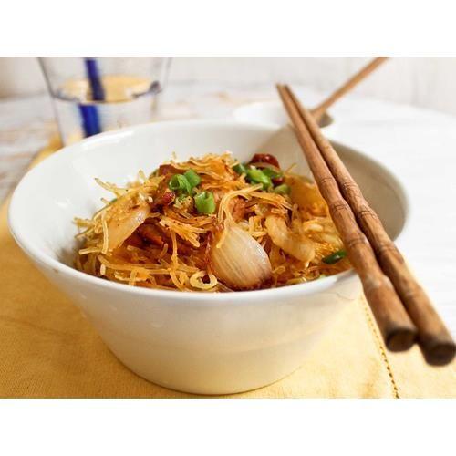 Stir-fry pork recipe. A stir-fry is a quick and easy mid-week dinner option, and this individual portion is light on calories too. Image courtesy of Getty.