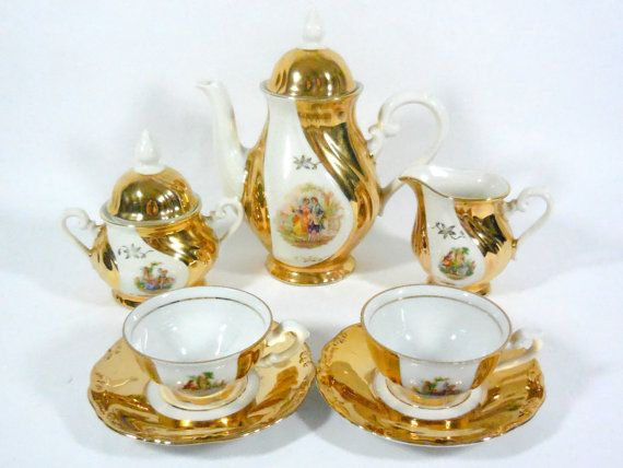 Beautiful Vintage Set for two 1950 Bavaria Gold // German : bavaria gold plated tea set - pezcame.com