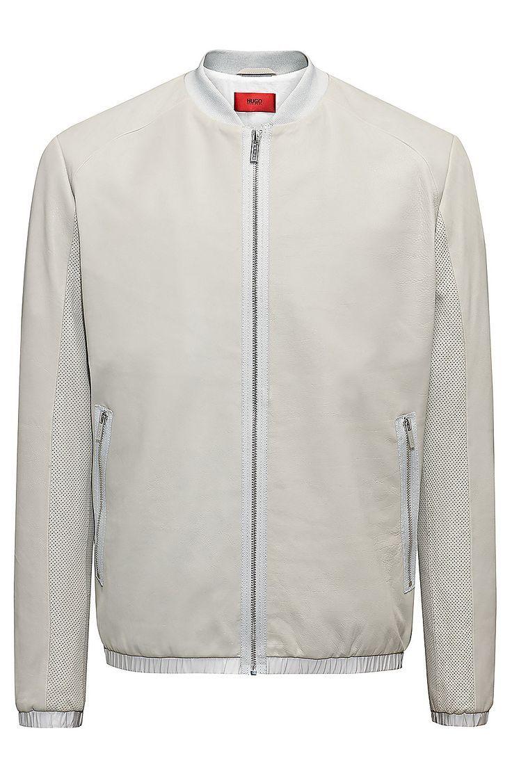 Hugo Boss Regular Fit Bomber Jacket In Calfskin Grey Bomber Jackets From Hugo For M Fitted Bomber Jacket Leather Jacket Outfit Men Mens Leather Bomber Jacket [ 1116 x 736 Pixel ]