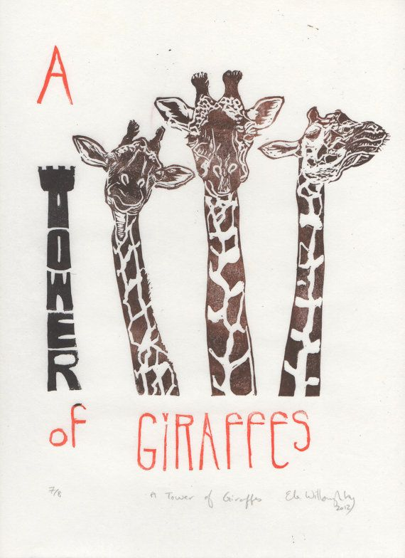 A Tower of  Giraffes Linocut - Terms of Venery, Collective Nouns for Animals, Typographic Lino Block Print - A Tower of Giraffes