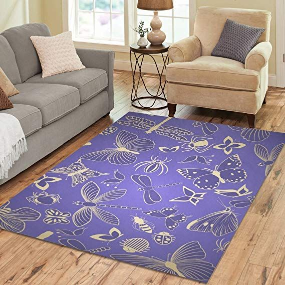 Design Area Rug Dragonfly Purple Carpet For Living Room Dining