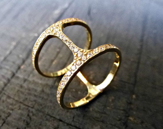 14K Solid Gold Double Ring Geometric Ring w Clear by SoCoolCharms