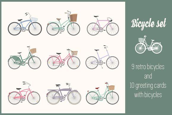 Bicycle set by romawka on @creativemarket