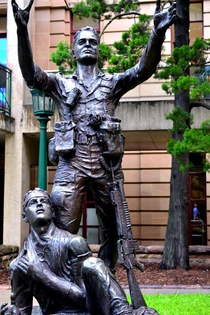 Anzac Statue...Brisbane Queensland Australia. Calling in a medivac helicopter in Viet Nam.