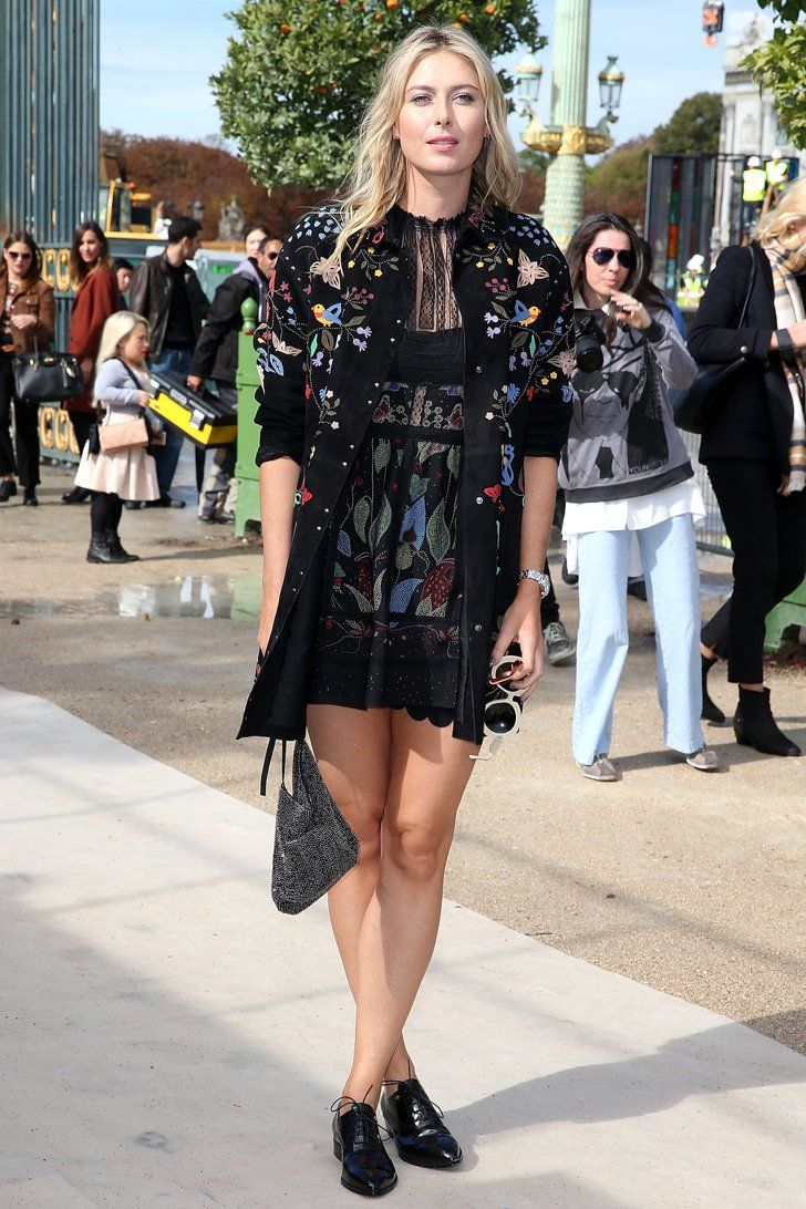 Pin for Later: You Won't Be Able to Stop Staring at PFW's Front-Row Outfits Maria Sharapova Rocking an embroidered ensemble at Valentino.