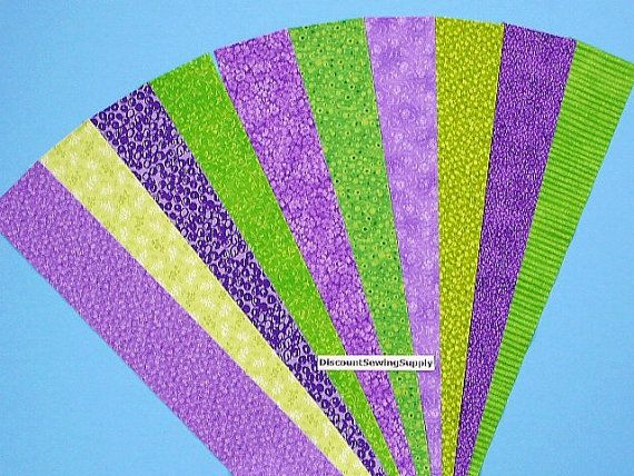 Green Purple Jelly Roll Quilt Strip Pack Cotton Quilting