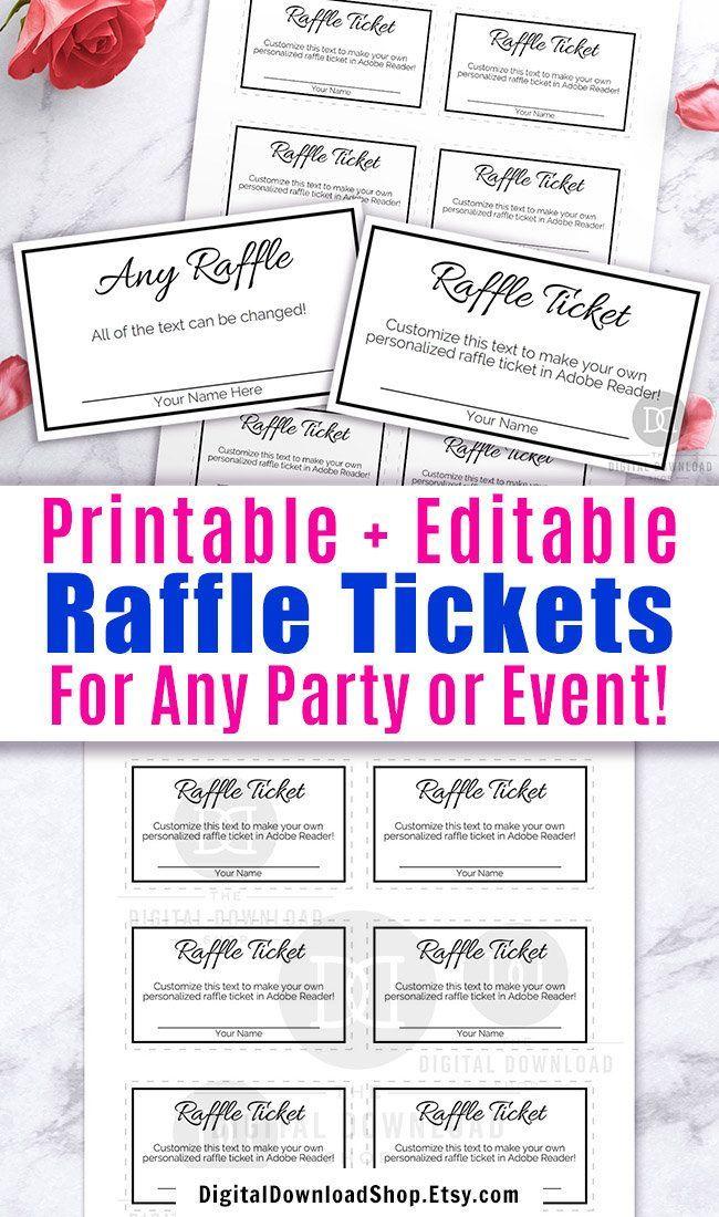 Raffle Ticket Template Editable Printable Black And White