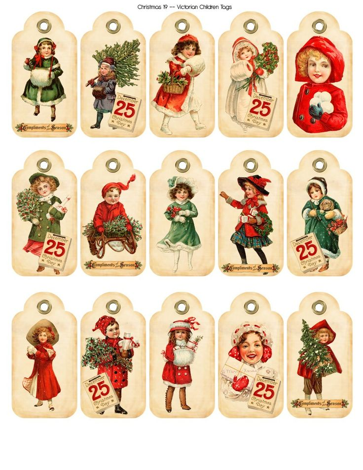 Christmas 19 -- Victorian -- Tags -- Digital Printable by CacheCache. $2.50, via Etsy.