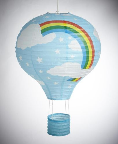 BLUE Rainbow Bedroom Paper Lantern Hot Air Balloon Style Fun Lamp Shade Easy-Fix | eBay