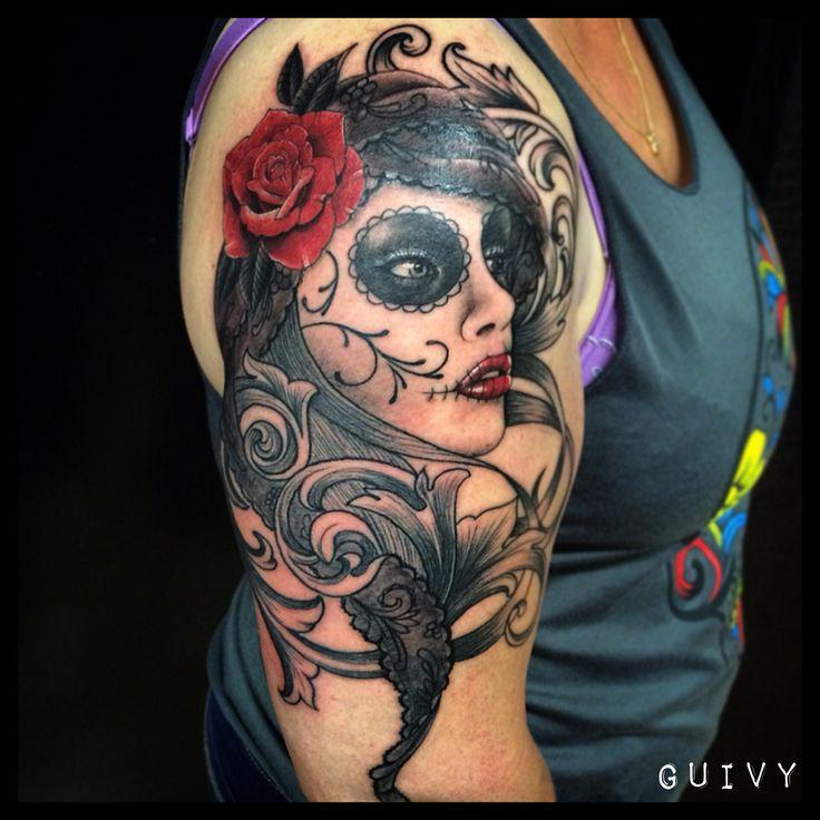 GUIVY Tattoo - Art For Sinners - GENEVA   #catrina #santa muerte #Katrina #Switzerland #swiss #geneve #tatouage #tatoueur #tatoo #mexican #mexicain #chicana #chola #dentelle #lace #rose #visage #portrait #feminin #lausanne #annecy #lyon #photo #dessin