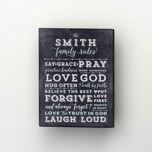 Family rules canvas is so adorable and customizable, bound to be a hit for any home! www.mymaryandmartha.com/nicoleh