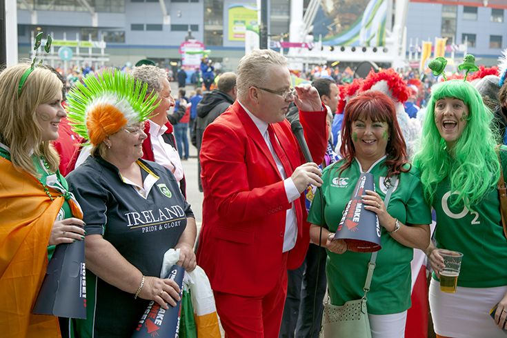 Irish Fans - IRE v FRA - Millennium Stadium, Rugby World Cup 11th Oct, 2015. NetBet #MakeSomeNoise campaign. For more info visit www.dicelondon.com