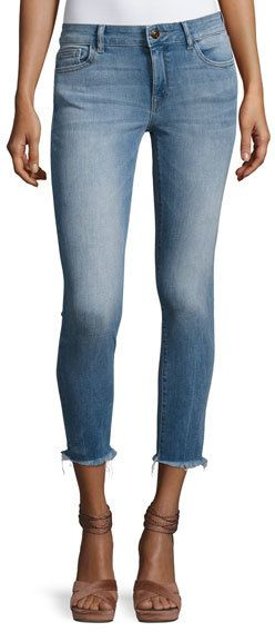 DL1961 DL 1961 Florence Instasculpt Cropped Skinny Jeans with Raw Hem, Nugget
