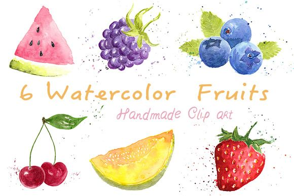Watercolor Fruits ClipArt Pack - Illustrations