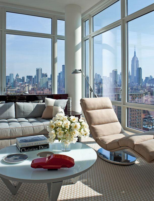Серо-голубая квартира на Манхэттене