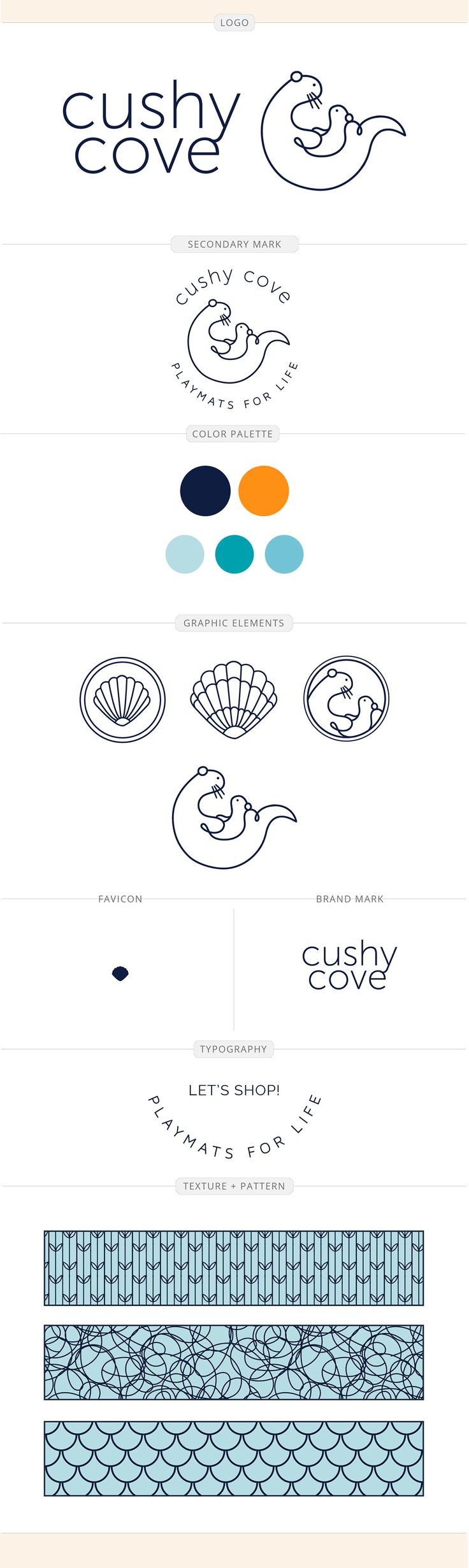 Cushy Cove brand identity design by Aeolidia. Taking success selling on Amazon and turning it into its own brand and online store.
