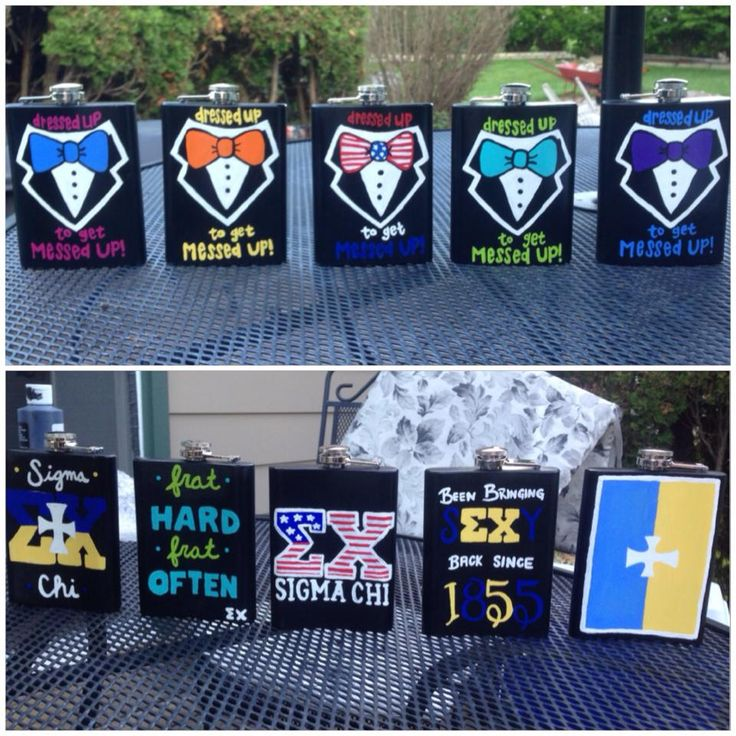 Sigma Chi Flasks. Totally making something similar for my guys