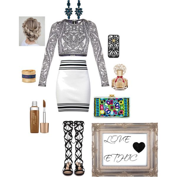 ethnic style by elenilor on Polyvore featuring Hervé Léger, Balmain, Gianvito Rossi, Edie Parker, Amrita Singh, Jane Iredale and Vince Camuto