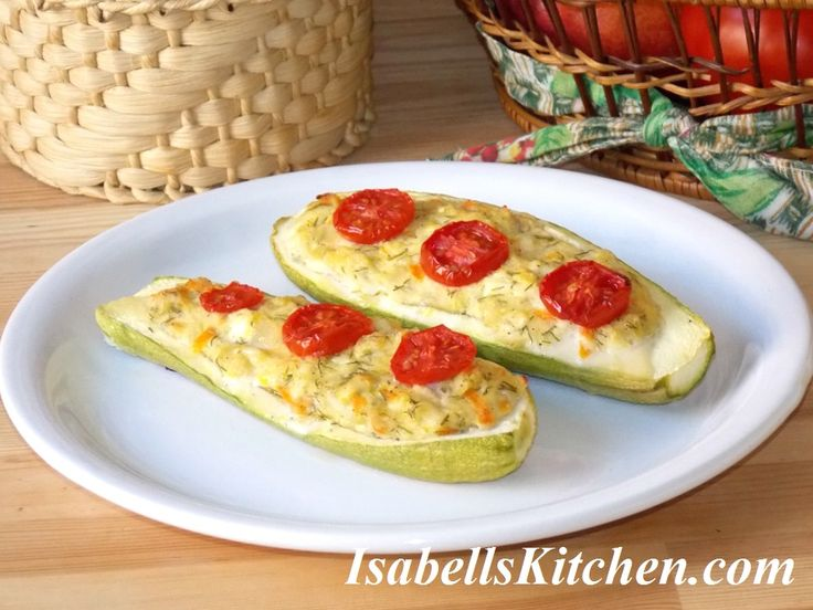 Feta cheese stuffed zucchini boats