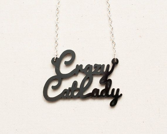 Crazy Cat Lady Necklace with  Silverplated Chain by DoodlecatsCrazy Cat