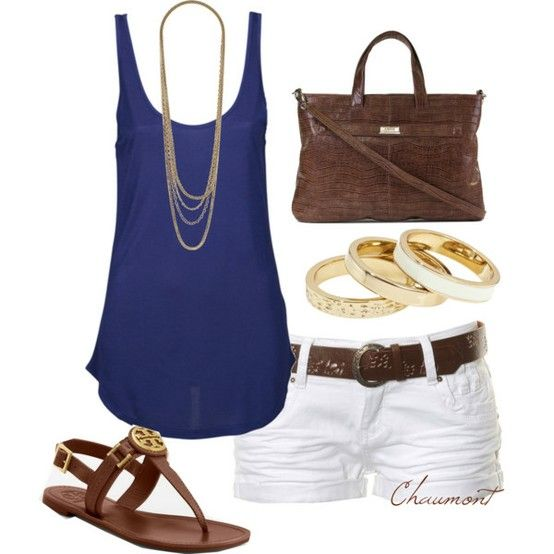 Blue tank, white shorts, gold jewelry and brown leather accessories (including Tory Burch sandals)