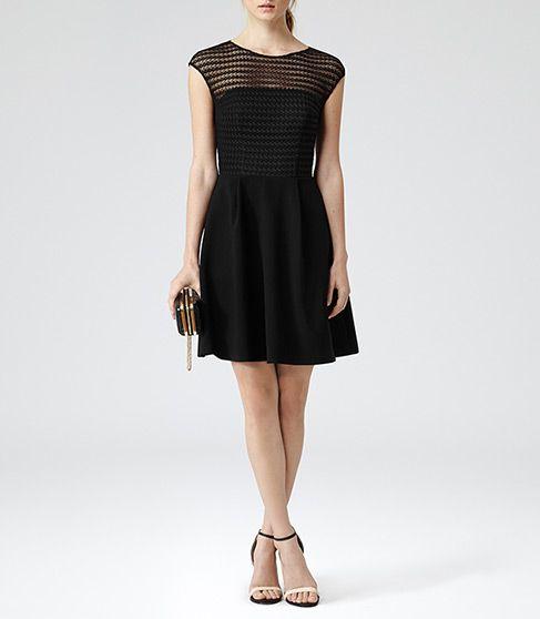 Womens Black Lace Bodice Dress - Reiss Maya