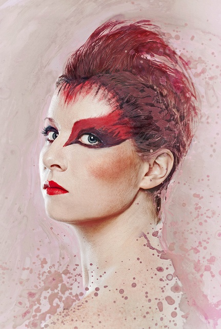Cardinal make up & paint/photo compilation by Amie Le Blanc, via Flickr.