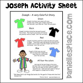 Joseph Activity Sheet - Children color the coat to represent the emotions the characters in the story experineced. From www.daniellesplace.com