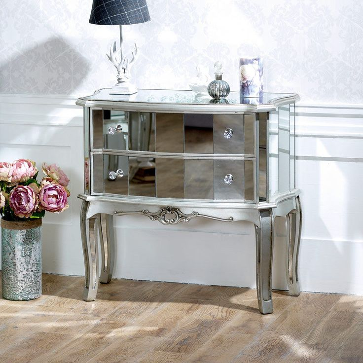 Mirrored 2 drawer chest shabby french chic bedroom furniture large bedside table #FloraFurniture #FrenchCountry