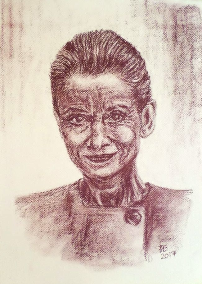 The elderly Audrey Hepburn, size A4, with pitt chalk
