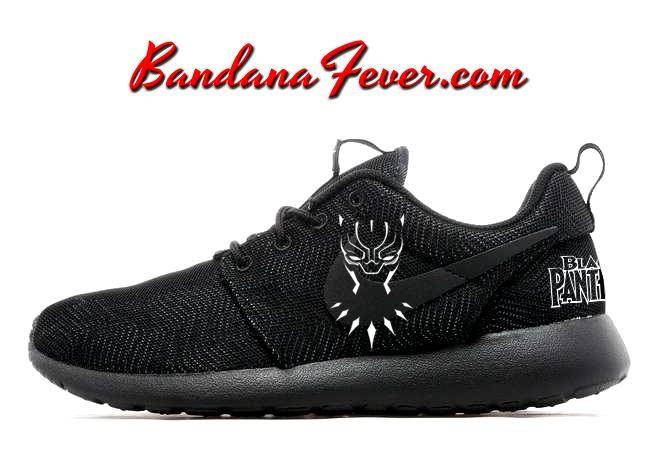 4772b55df738 Custom Black Panther Nike Roshe Run Shoes Black