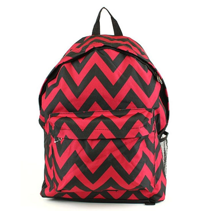Personalized Black Backpack with Red Chevron Print