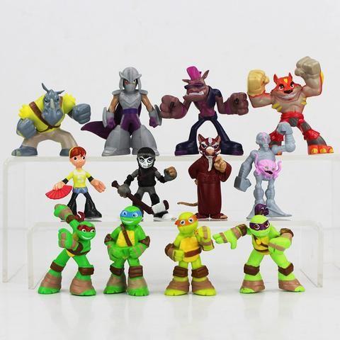 Hot 12pcs/lot 4-7cm TMNT Teenage Mutant Ninja Turtles 2 Bebop April O'Neil The Shredder action figure toys Christmas toy