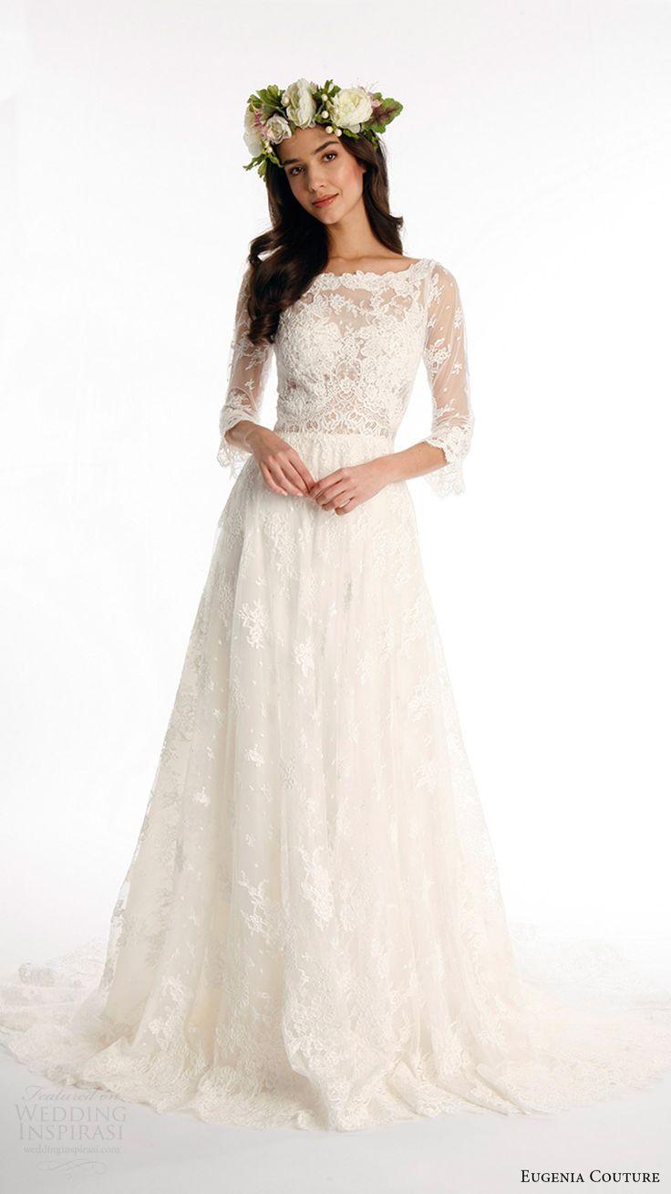 eugenia couture joy bridal spring 2017 3 quarter sleeves bateau alencon lace aline wedding dress (kate) fv romantic