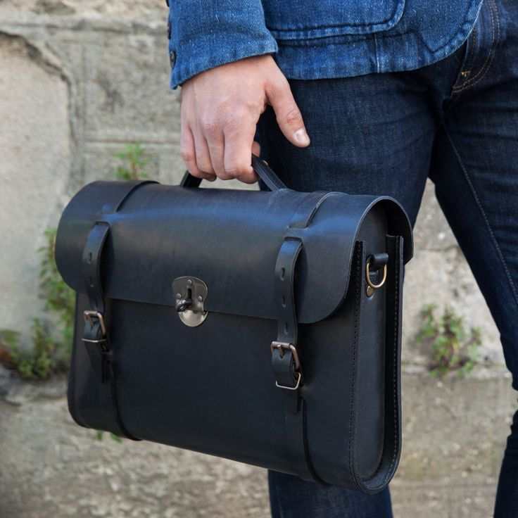 Bleu de Chauffe   Men   Leather satchel bag   Scott, The Writer's bag   Made in France