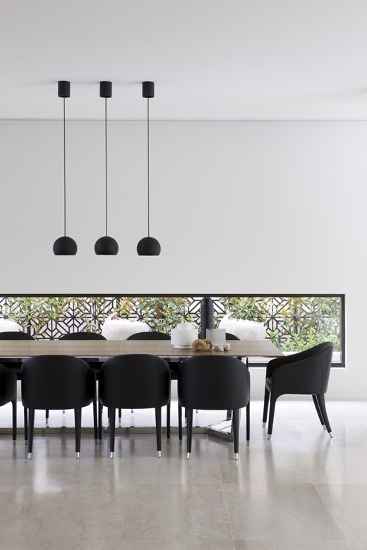 Modern Minimalist Dining Room-Black, White Wood