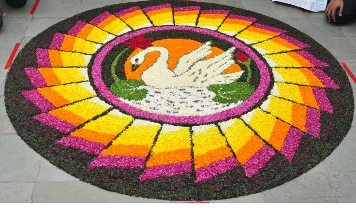 A flower rangoli – flower rangolis (pookkalam) are made by Malayalis during Onam, the biggest festival in the South Indian state of Kerala.